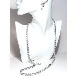 パールイヤリングあこや真珠青系色7.3mmシルバー製ソフトタッチイヤリング正面からみた全長約25mm真珠含むピアスっぽく見えるイヤリング|wizem