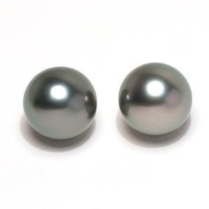 ブラックパールルース 黒蝶真珠 ラウンド形9.3mm2珠 加工用に片穴開け済み イヤリングヤピアス用材料 wizem