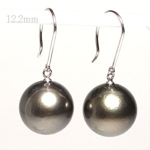ブラックパールルース黒蝶真珠直径12.2mm2珠真珠表面に肌荒れあり wizem