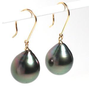 ブラックパールルース黒蝶真珠2珠 ドロップ形幅11mmUP縦13mmUP片穴あき 材料 wizem