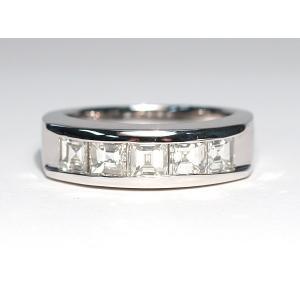 ダイヤモンドリング豪華1.5ct一文字リングプラチナ製12サイズ四角いダイヤモンドが横に5石|wizem