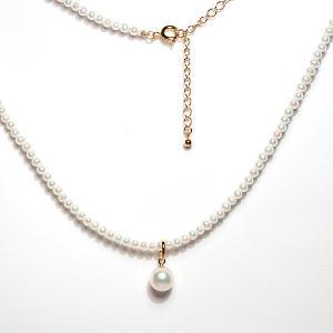 あこや真珠8mmパールチャーム付  淡水パールポテト形バロック形幅約3mmネックレス40cm+SILVER金色5cmアジャスターで長さ調整可|wizem