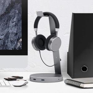 Satechi アルミニウム USB ヘッドホンスタンド (USB3.0 ポートx3と3.5mm音声...