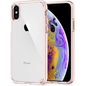 スマホケース Spigen シュピゲン iPhone XS / X ウルトラハイブリッド ローズクリ...
