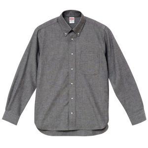 シャツ メンズ レディース 長袖 ボタンダウン 灰色 グレー ビジネス コットン 綿 制服 ポケット オックスフォード カラーシャツ Yシャツ クールビズ カジュアル|wmstore