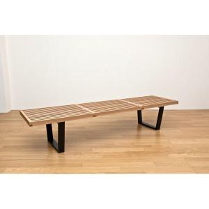 ネルソンベンチ(プラットホームベンチ) 〔幅180cm〕 木製 ミッドセンチュリー風 ナチュラル〔代引不可〕 wmstore