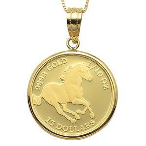 【商品名】 コイン ネックレス K24 エリザベス ホース 馬 1/10oz 純金 ツバルコイン リ...