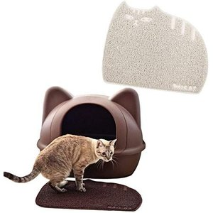 iCat アイキャット オリジナル しまネコ砂取りマット アイボリー 猫 トイレ用品