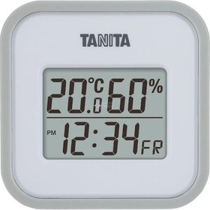 タニタ デジタル温湿度計 グレー TT558GY|wnet