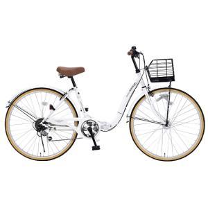 My Pallas マイパラス M-509-W 折畳シティサイクル 26インチ 6段変速 折畳自転車 オートライト ホワイト|wnet
