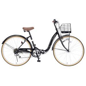 My Pallas マイパラス M-509-BK 折畳シティサイクル 26インチ 6段変速 折畳自転車 オートライト ブラック|wnet