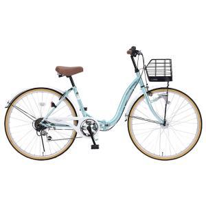 My Pallas マイパラス M-509-MT 折畳シティサイクル 26インチ 6段変速 折畳自転車 オートライト クールミント|wnet