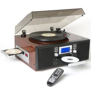 TOHSHOH きれいなピアノ仕上げのダブルCD カセット ラジオ マルチレコードプレーヤー ブラウン TS-7885PBR|wnet