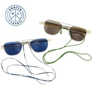 ポータークラシック Porter Classic クラシックアビエイターサングラス ウィズコード CLASSIC AVIATOR SUNGLASSES W/Chord -BLACK/BLUE- PC-011-860 womanremix