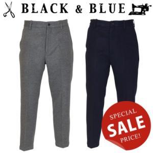 BLACK & BLUE ブラックアンドブルー フラノノータックパンツ 119P08|womanremix