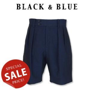 BLACK & BLUE ブラックアンドブルー Two Tuck Officer Shorts ツータックオフィサーショーツ 120P04|womanremix