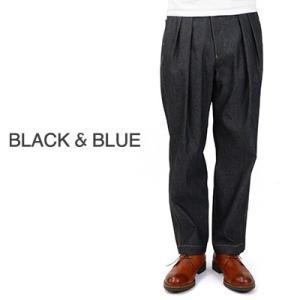 ブラックアンドブルー BLACK & BLUE ツータックワイドトラウザーズ インディゴデニム Two Tuck Wide Trousers