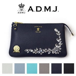 ADMJ エーディーエムジェイ SHRINKLEATHER/SWAROVSKI・CRYSTALS POUCHWALLET スワロフスキー・クリスタル付 ポーチウォレット 18SS01030 ACS01077SV|womanremix