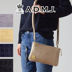 ADMJ エーディーエムジェイ POUCHWALLET 牛革クロコ型押し ポーチウォレット ACS01169|womanremix