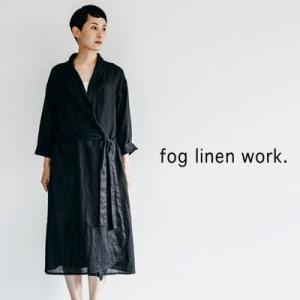 fog linen work フォグリネンワーク EMMA ROBE COAT BLACK エマ ローブコート ブラックLWA077-17|womanremix