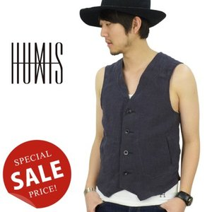 ヒューミス HUMIS EASY NO COLLOR VEST リネンベスト M-VE301|womanremix
