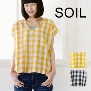 soil ソイル V-NECK NO/SL PULLOVER ブロックチェック Vネックプルオーバー NSL1515|womanremix