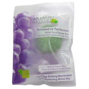 ANDALOU パーフェクション こんにゃく洗顔スポンジデュオ、2個パック アンダルー|womensfitness