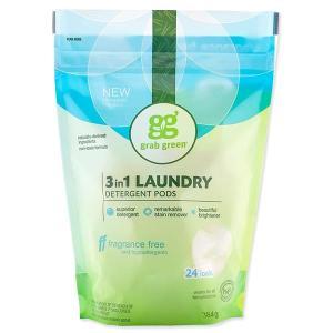 3in1 洗濯洗剤ポッド 無香料タイプ 24個 432g(15.2oz)grab green(グラブグリーン)|womensfitness