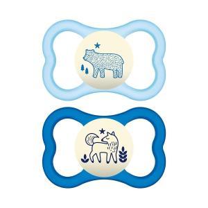 MAM おしゃぶり 夜光 蓄光 ケース付き 生後6カ月以上向け 2個セット 青 水色|womensfitness