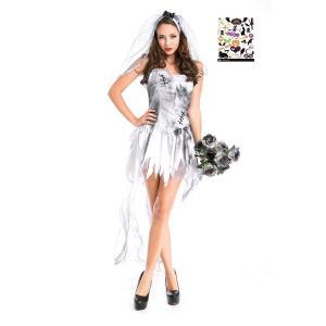 ハロウィン コスプレ ゴースト花嫁 ミニドレス コスチューム レディース ハロウィン タトゥーシール付き 2点セット S412 Madrugada|wonder-house