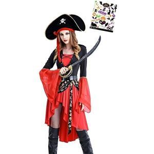 女海賊 衣装 ゴージャス ドレス コスチューム ハロウィン タトゥーシール付き 2点セット レディース S476 Madrugada|wonder-house