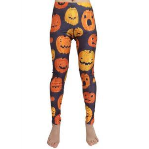 ハロウィン パンプキン かぼちゃ 柄 レギンス コスチューム 小物 レディース Mサイズ S594 Madrugada|wonder-house