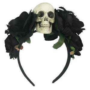 ハロウィン ドクロ 骸骨 カチューシャ ヘッドドレス 死者の日 本格 メキシコ 風 コスプレ 小物 レディース S620 Madrugada|wonder-house