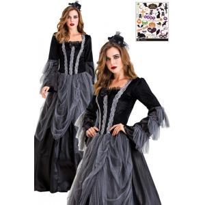ハロウィン コスプレ ゴースト ゾンビ 貴婦人 ドレス 衣装 ハロウィン タトゥーシール付き 2点セット レディース コスチューム Madrugada S699|wonder-house