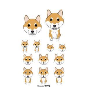 イラストカラーシール柴犬赤 Sb Seal Papa犬種別犬雑貨わん