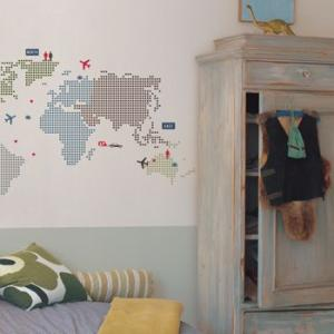 ウォールステッカー キッズ 世界地図 飛行機 ドット ワールドマップ|wonderfuroom