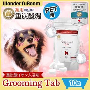ペット用 入浴剤 グルーミングタブ 10錠 お試し 薬用 ホットタブ 犬 猫 ペット用重炭酸入浴剤 炭酸泉 臭い 被毛 皮膚ケア 送料無料 メール便 ポイント消化|wonderfuroom