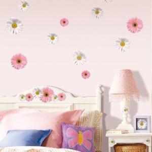 ウォールステッカー 植物 花 ピンク&ホワイトフラワー|wonderfuroom