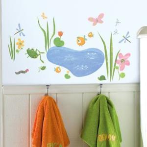 ウォールステッカー キッズ 動物 魚 植物 池 こども部屋 バスルーム ガーデンアニマルズ|wonderfuroom