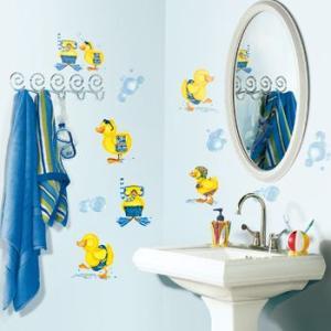 ウォールステッカー キッズ・ベビー 動物 鳥 アヒル バスルーム トイレ バブルバス|wonderfuroom