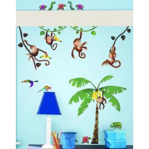 ウォールステッカー キッズ 動物 サル ジャングル こども部屋 モンキービジネス|wonderfuroom
