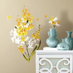 ウォールステッカー 植物 花 リビング 玄関 イエローフラワーアレンジメント|wonderfuroom