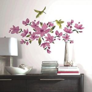 ウォールステッカー 植物 花 鳥 リビング 玄関 ピンクフロウィング ヴァイン|wonderfuroom