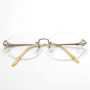 ユキコハナイ K14WG メガネ 眼鏡 ダイヤ 0.76 レンズ度付き (ブルー) 総重量約27.9g 【中古】【あすつく】|wonderprice