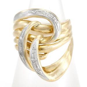 リング PT900 プラチナ K18YG 指輪 11号 ダイヤ 0.07 総重量約6.4g|wonderprice