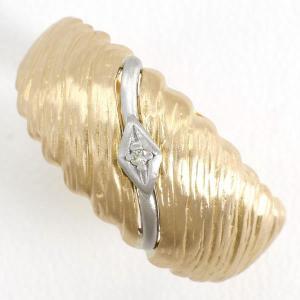 リング PT900 プラチナ K18YG 指輪 15.5号 ダイヤ 総重量約4.4g|wonderprice