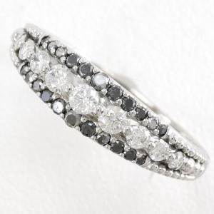 リング K18 18金 WG ホワイトゴールド ブラックメッキ 指輪 15号 ブラックダイヤ 0.21 ダイヤ 0.34 総重量約3.0g|wonderprice