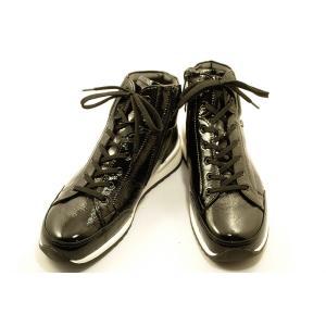 【送料無料】 finncomfort(フィンコンフォート)ニューモデル ハイカットシューズ 2369 TOBLACH ブラックエナメル wondershoes