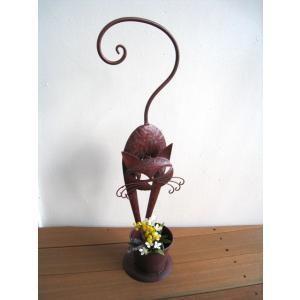 ◆サイズ 幅21×奥行15×高さ60cm  鉢サイズ:直径11×高さ9.5cm ◆材質  ブリキ  ...