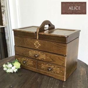 ソーイングボックス 裁縫箱 木製 北欧 3段 大容量 アンティーク フレンチカントリー おしゃれの写真